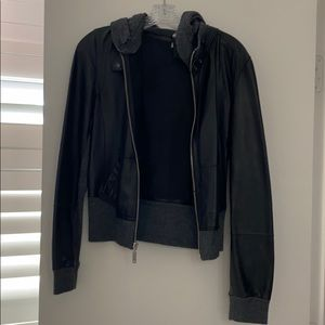 Young Fabulous & Broke Leather/Cashmere Bomber